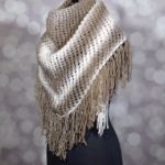 knit beige and white scarf