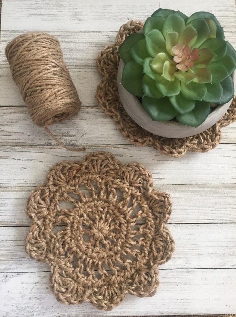 Crochet Jute Pot Holder free pattern