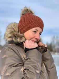 New Brim Beanie hat with fur pom pom