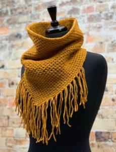 knit honey cowl on mannequin
