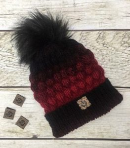 Double Brimmed Classic Slouchy red and black hat with fur pom pom