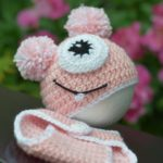 crochet pink monster baby hat and bottoms