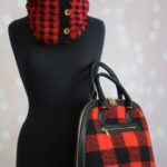 crochet plaid cowl and purse